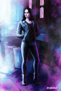 240x320 Jessica Jones In Defenders Artwork