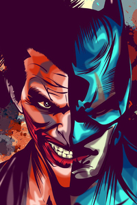 Joker And Batman Faces Artwork