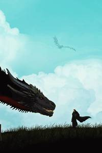 750x1334 Jon Snow And Khalessi Dragon Artwork