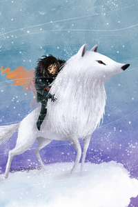 320x480 Jon Snow Wolf Digital Art