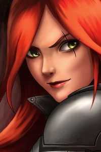 640x1136 Katarina League Of Legends Red Hair Warrior Girl