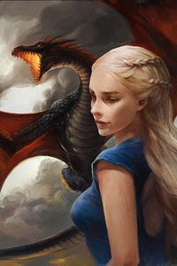 320x480 Khaleesi Game of Thrones With Dragon Artwork