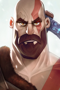 1125x2436 Kratos God Of War Illustration