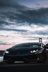 240x320 Lamborghini Huracan Golden Gate Bridge
