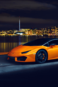 1080x2160 Lamborghini Huracan LP580 Night Photoshoot