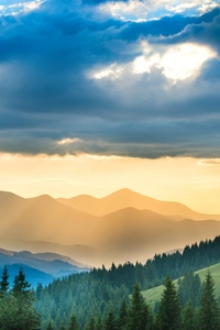 800x1280 Landscape Mountains Sunbeam Nature 5k
