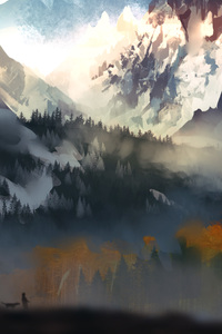 480x854 Landscape Scenery Moutain Autumn Digital Art 5k