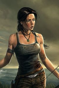 360x640 Lara Croft 8k Artwork