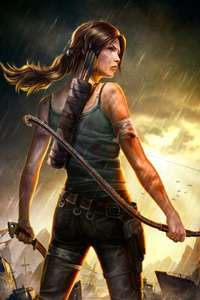 640x960 Lara Croft Tomb Raider 4k Artwork