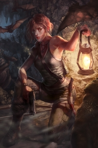 800x1280 Lara Croft Trapped In Cave 4k