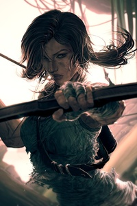 640x960 Lara Croft Video Game Art