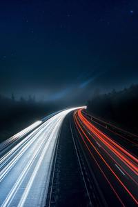 1440x2960 Light Trails Highway 5k