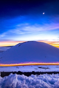 480x800 Light Trails Long Exposure Hills Snow Sunset