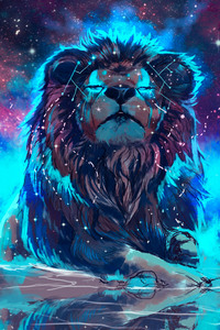 320x480 Lion 4k Artistic Colorful