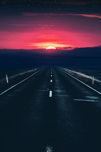 1080x2160 Long Alone Dark Road Sunset View