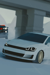 Low Poly Art Volkswagen Police Chase