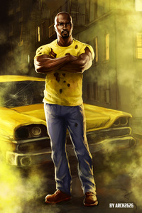 240x320 Luke Cage In The Defenders Artwork