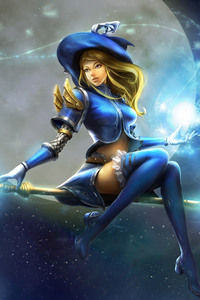 1080x1920 Lux Moon Staff Witch Hat League Of Legends