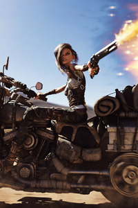 480x800 Mad Max Biker Anime Girl