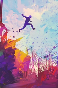1080x1920 Man Jumping Roof Abstract Illustration Painting 5k