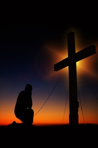1440x2560 Man Standing In Front Of Cross Silhouette 5k