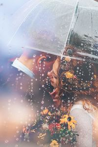 2160x3840 Married Couple Romantic Umbrella Raining Weeding