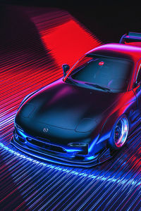 Mazda Rx7 Retro Digital Art
