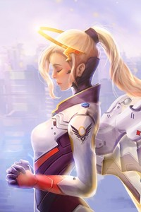 480x800 Mercy Overwatch Artwork 5k