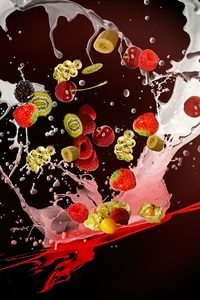 2160x3840 Milkshake Fruits Desert Movemenet