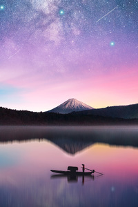 1080x1920 Milky Way Mount Fuji