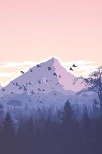 Minimalism Birds Mountains Trees Forest