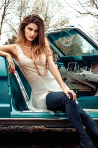 1080x1920 Model Sitting In Vintage Car