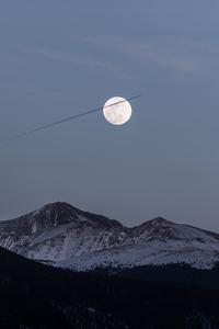 1280x2120 Moon Over Snowy Mountains 5k