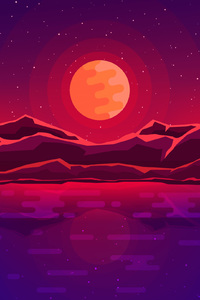 Moon Rays Red Space Sky Abstract Mountains