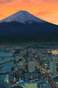 640x1136 Mount Fuji Snowy Peak Japan Sunset City
