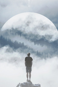 480x854 Mountain Man Standing On Rock Manipulation Photography