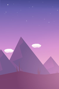 800x1280 Mountains Clouds Illustration Minimalism