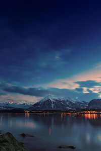 1125x2436 Mountains Lake Stones Evening