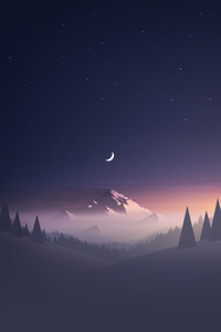 240x320 Mountains Moon Trees Minimalism