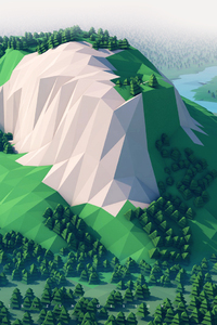 720x1280 Mountains Trees Forest 3d Minimalism