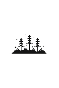 1280x2120 Mountains Trees Minimalism