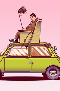 320x480 Mr Bean Sitting On Top Of His Car Vector Art