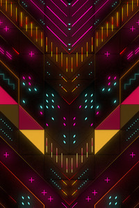 1440x2560 Neon Abstract Geometry Digital Art