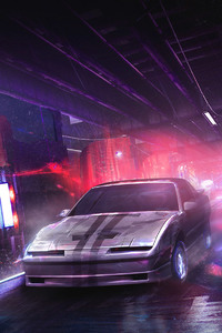 1280x2120 Neon Car Artwork Digital Pink Purple Neon Photomanipulation