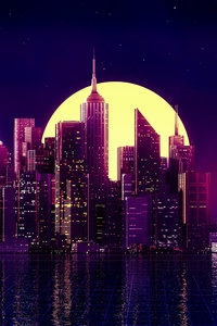 800x1280 Neon City Buildings Reflection Skycrapper Minimalism 4k