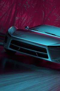 Neon Synthwave Sport Car 480x800