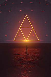 640x960 Neon Triangle Digital Art