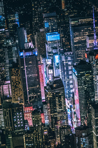 720x1280 New York Dark City Night Lights Buildings View From Top 5k
