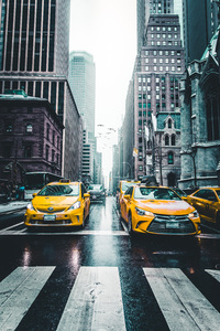 240x400 New York Taxi Wet Roads Tall Buildings 5k