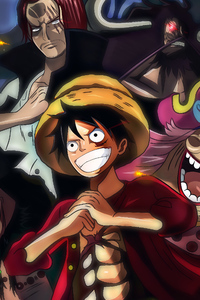 1280x2120 One Piece Charlotte Linlin Kaido Marshall D Teach Monkey D Luffy Shanks